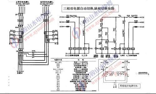三相双电源自动切换,三相缺相自动切换电路和两相电